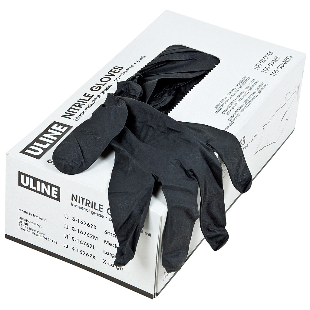 box of black nitrile gloves for graffiti