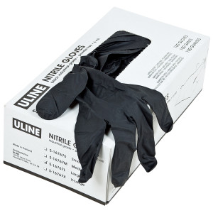box of black nitrile gloves
